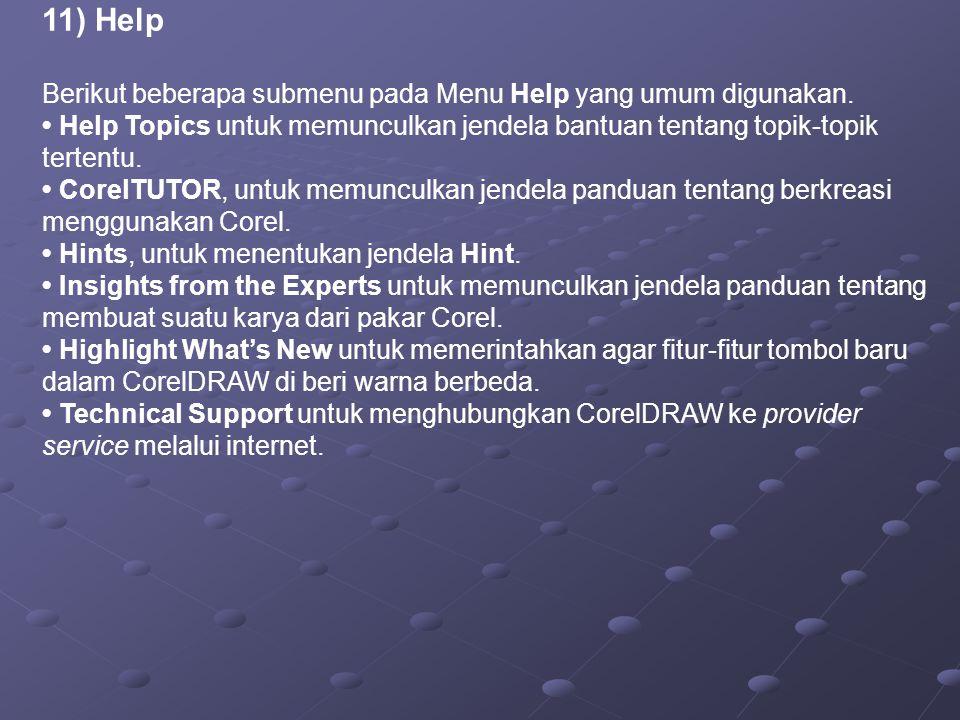 11) Help Berikut beberapa submenu pada Menu Help yang umum digunakan.