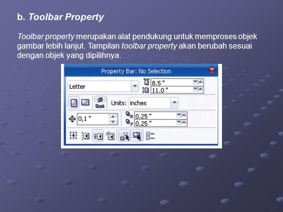 b. Toolbar Property Toolbar property merupakan alat pendukung untuk memproses objek gambar lebih lanjut. Tampilan toolbar property akan berubah sesuai