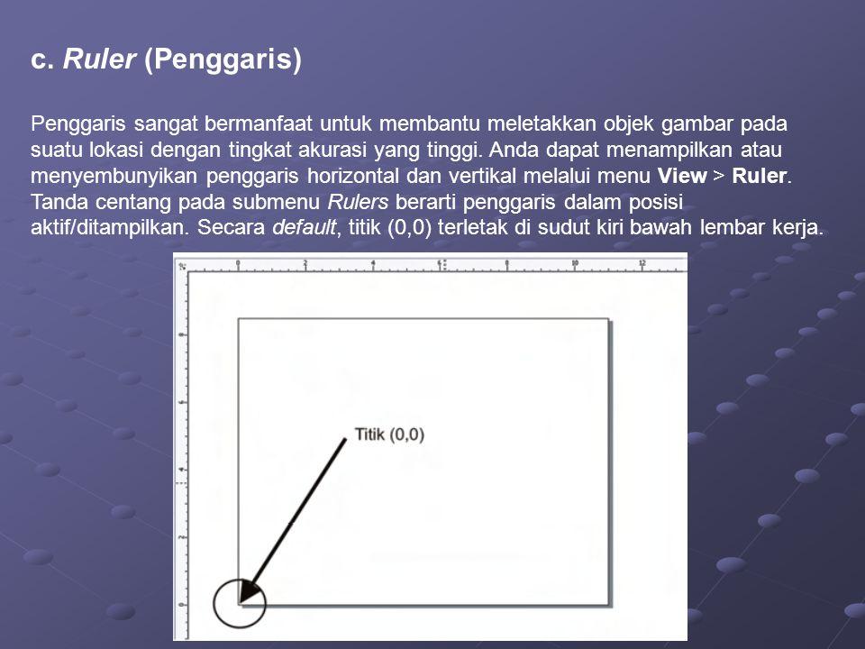 c. Ruler (Penggaris) Penggaris sangat bermanfaat untuk membantu meletakkan objek gambar pada suatu lokasi dengan tingkat akurasi yang tinggi. Anda dap