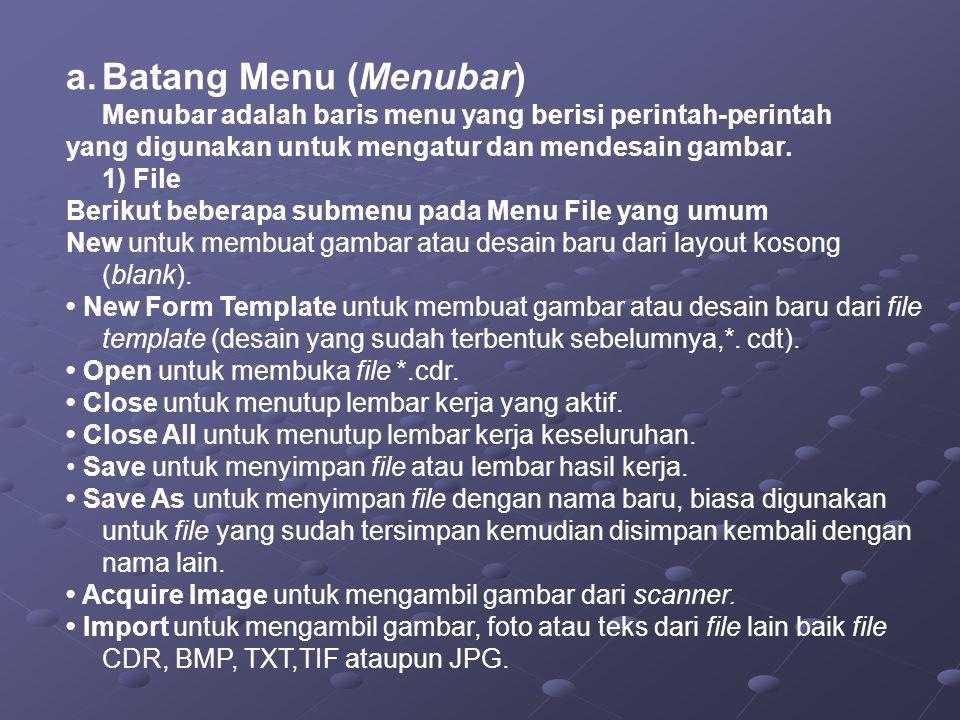 a.Batang Menu (Menubar) Menubar adalah baris menu yang berisi perintah-perintah yang digunakan untuk mengatur dan mendesain gambar.
