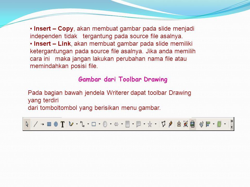 • Insert – Copy, akan membuat gambar pada slide menjadi independen tidak tergantung pada source file asalnya. • Insert – Link, akan membuat gambar pad