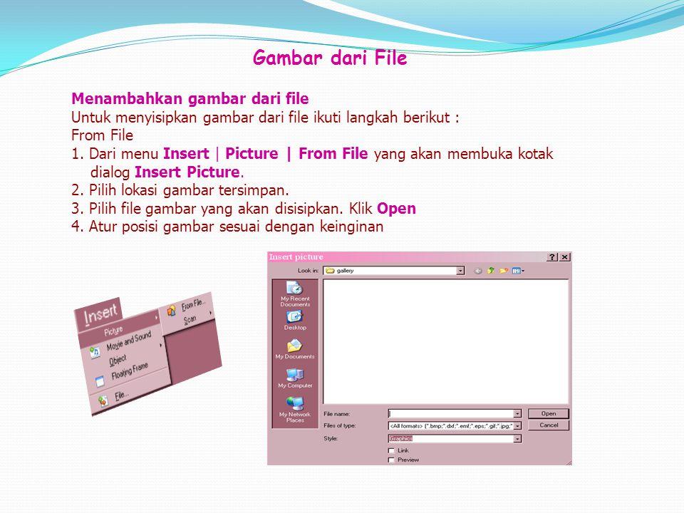 Gambar dari File Menambahkan gambar dari file Untuk menyisipkan gambar dari file ikuti langkah berikut : From File 1. Dari menu Insert | Picture | Fro