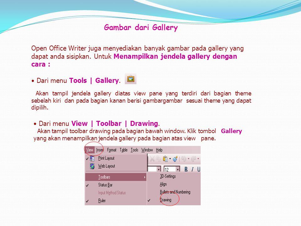 Gambar dari Gallery Open Office Writer juga menyediakan banyak gambar pada gallery yang dapat anda sisipkan. Untuk Menampilkan jendela gallery dengan