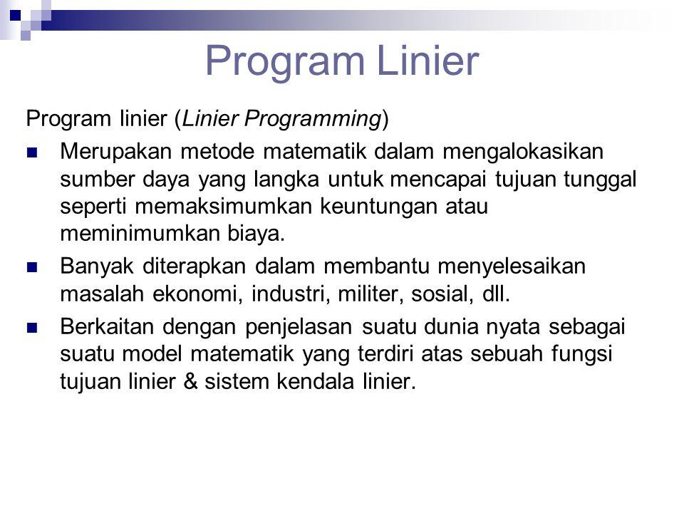 Program Linier Program linier (Linier Programming)  Merupakan metode matematik dalam mengalokasikan sumber daya yang langka untuk mencapai tujuan tun