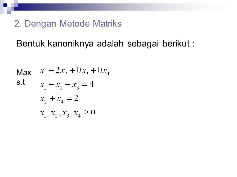 2. Dengan Metode Matriks Bentuk kanoniknya adalah sebagai berikut : Max s.t