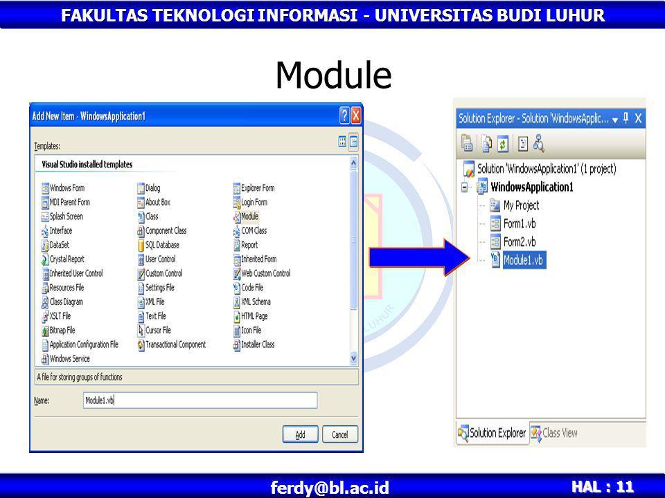 FAKULTAS TEKNOLOGI INFORMASI - UNIVERSITAS BUDI LUHUR HAL : 12 ferdy@bl.ac.id Object Didalam Toolbox autohide