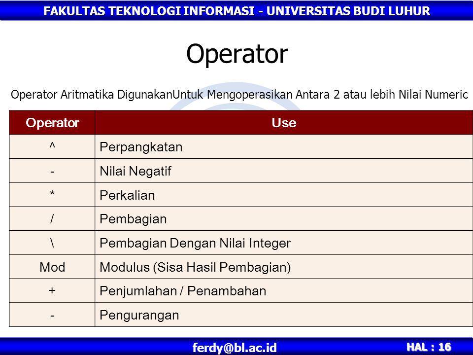 FAKULTAS TEKNOLOGI INFORMASI - UNIVERSITAS BUDI LUHUR HAL : 16 ferdy@bl.ac.id Operator Operator Aritmatika DigunakanUntuk Mengoperasikan Antara 2 atau