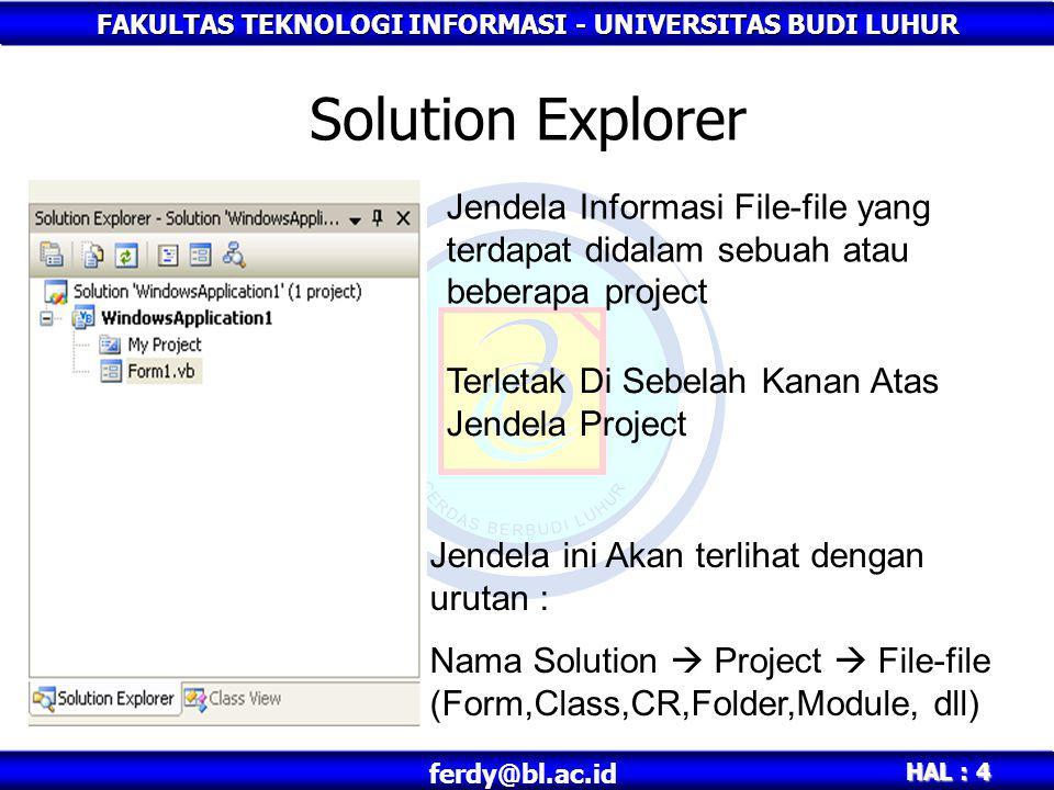 FAKULTAS TEKNOLOGI INFORMASI - UNIVERSITAS BUDI LUHUR HAL : 4 ferdy@bl.ac.id Solution Explorer Jendela Informasi File-file yang terdapat didalam sebua
