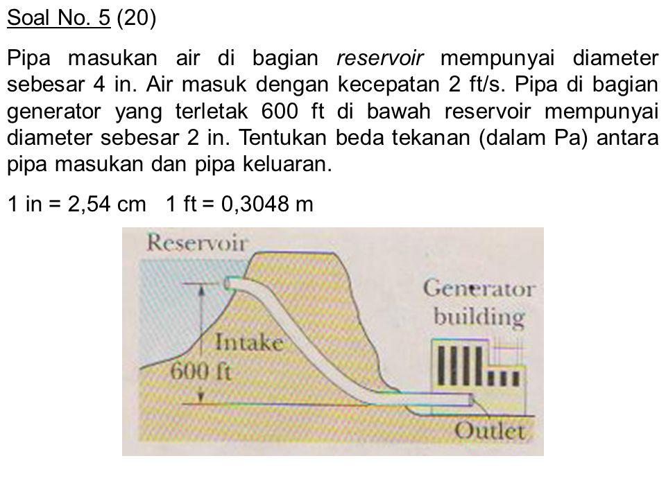 Soal No. 5 (20) Pipa masukan air di bagian reservoir mempunyai diameter sebesar 4 in. Air masuk dengan kecepatan 2 ft/s. Pipa di bagian generator yang