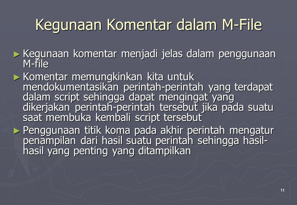 11 Kegunaan Komentar dalam M-File ► Kegunaan komentar menjadi jelas dalam penggunaan M-file ► Komentar memungkinkan kita untuk mendokumentasikan perin
