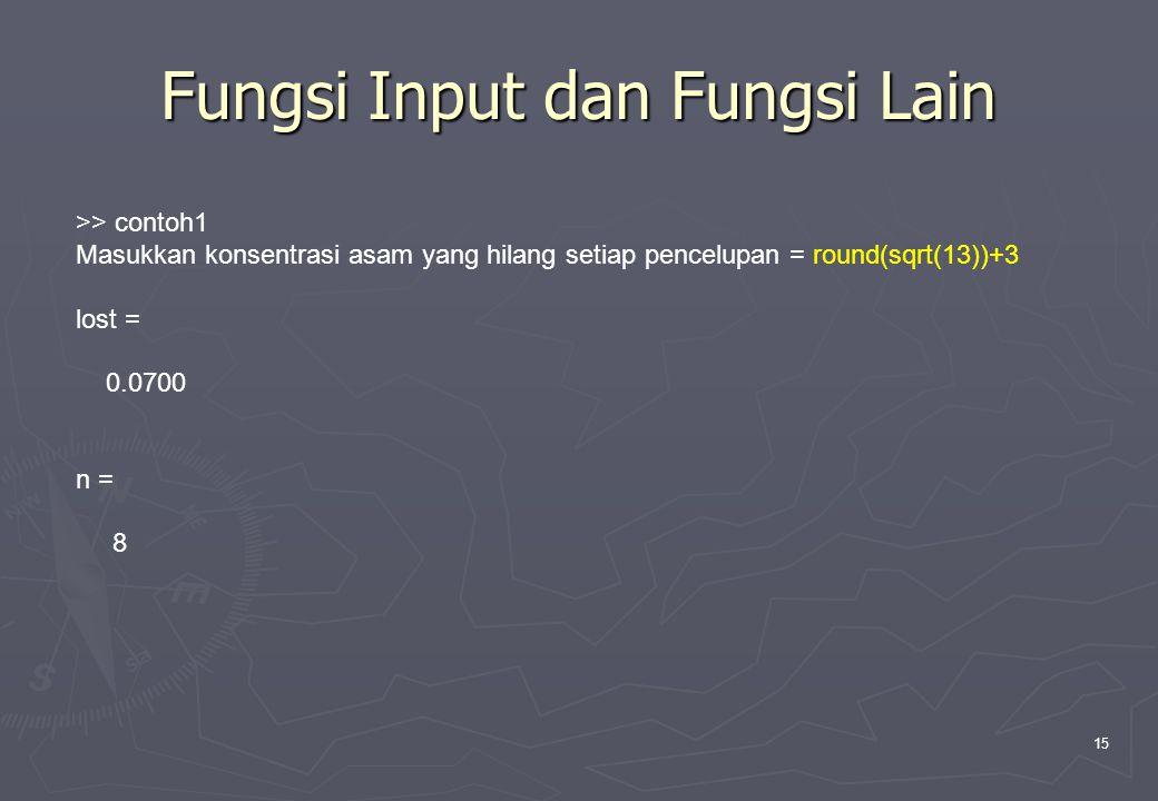 15 Fungsi Input dan Fungsi Lain >> contoh1 Masukkan konsentrasi asam yang hilang setiap pencelupan = round(sqrt(13))+3 lost = 0.0700 n = 8