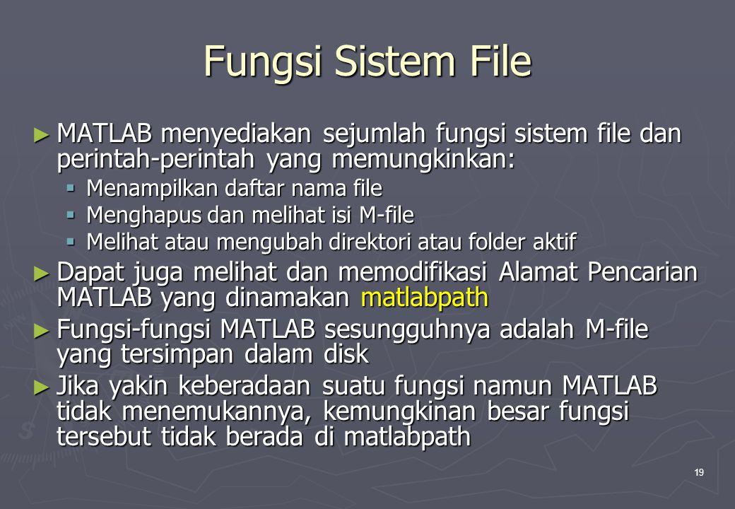 19 Fungsi Sistem File ► MATLAB menyediakan sejumlah fungsi sistem file dan perintah-perintah yang memungkinkan:  Menampilkan daftar nama file  Mengh