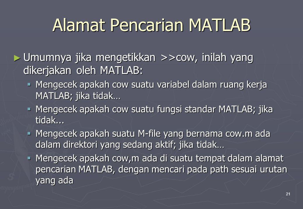 21 Alamat Pencarian MATLAB ► Umumnya jika mengetikkan >>cow, inilah yang dikerjakan oleh MATLAB:  Mengecek apakah cow suatu variabel dalam ruang kerj