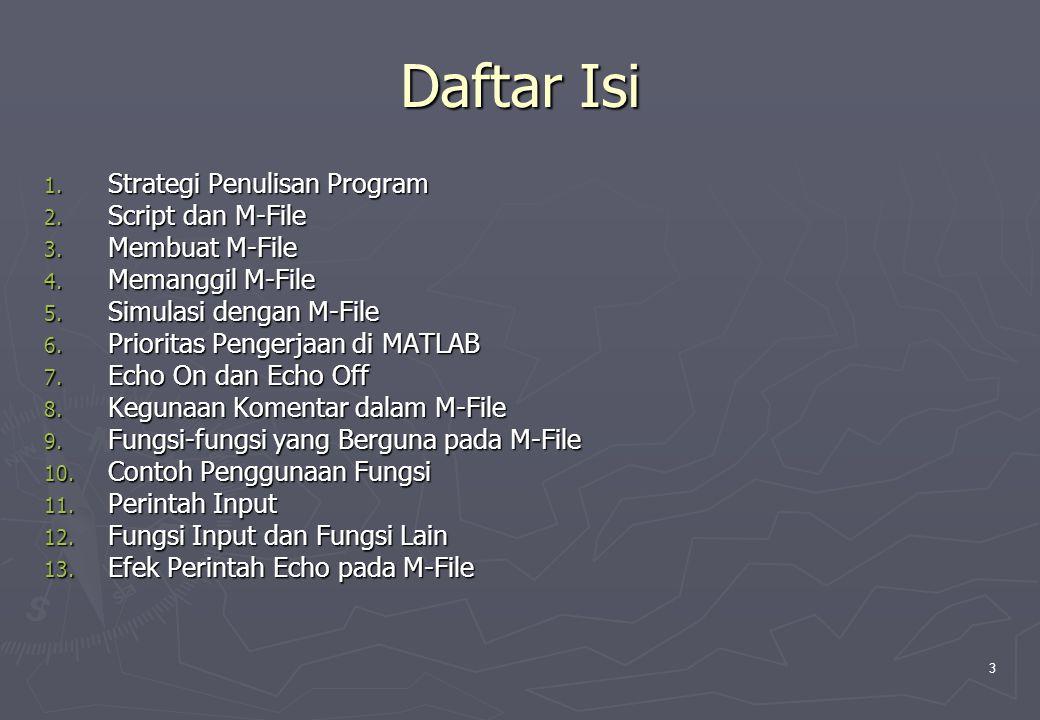 3 Daftar Isi 1. Strategi Penulisan Program 2. Script dan M-File 3. Membuat M-File 4. Memanggil M-File 5. Simulasi dengan M-File 6. Prioritas Pengerjaa