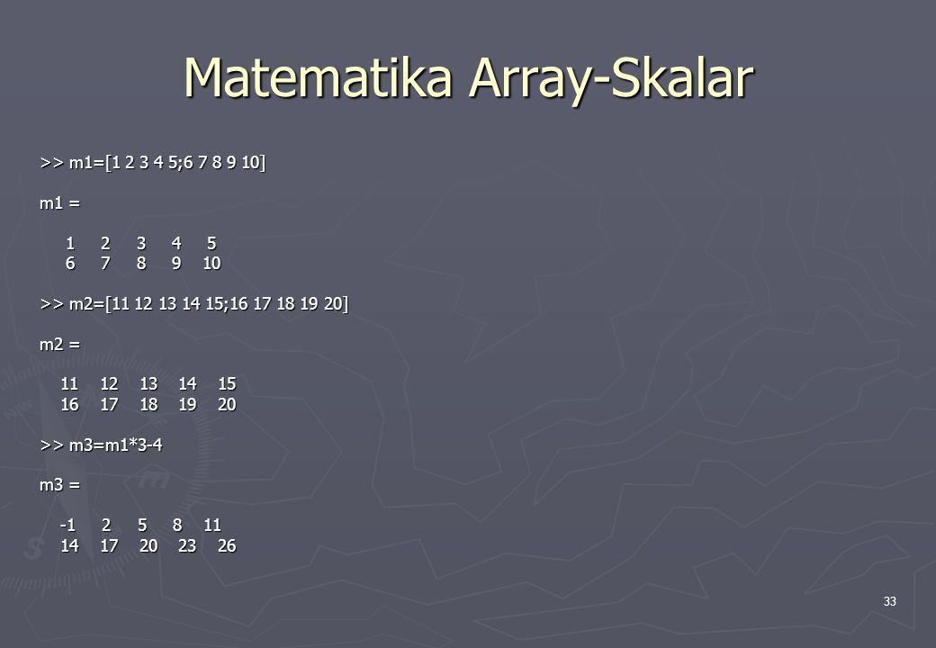 33 Matematika Array-Skalar >> m1=[1 2 3 4 5;6 7 8 9 10] m1 = 1 2 3 4 5 1 2 3 4 5 6 7 8 9 10 6 7 8 9 10 >> m2=[11 12 13 14 15;16 17 18 19 20] m2 = 11 1