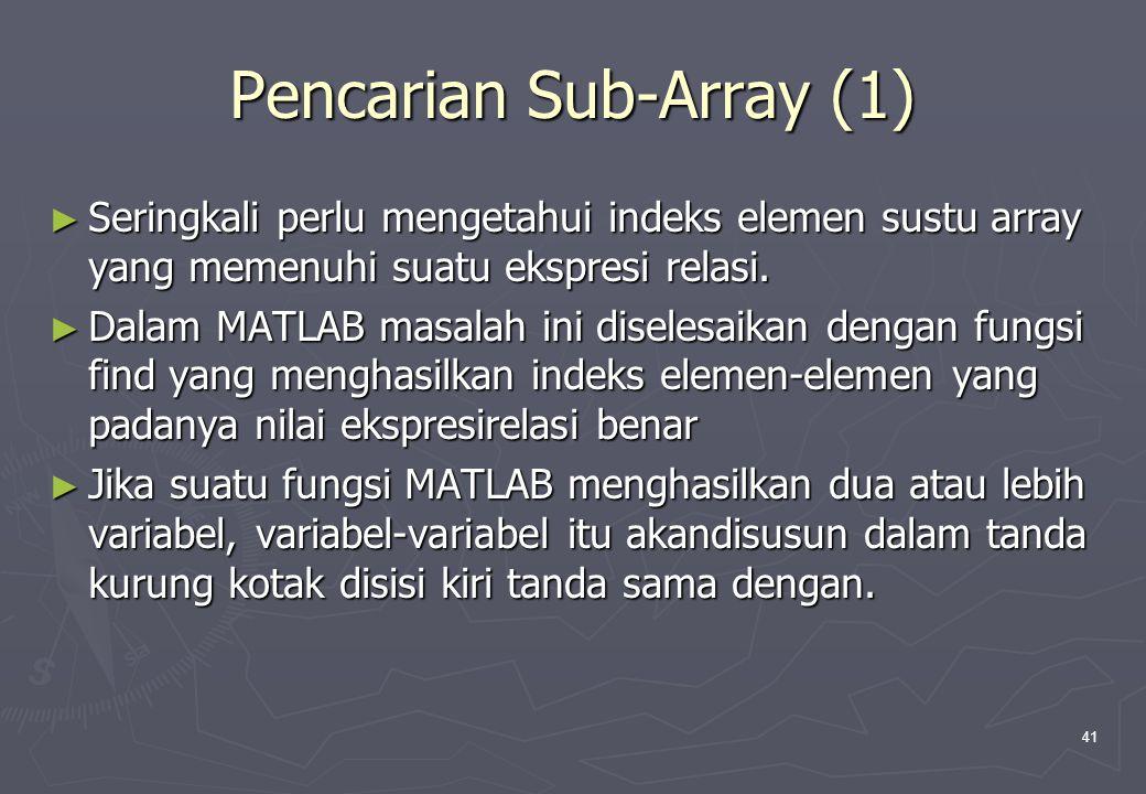 41 Pencarian Sub-Array (1) ► Seringkali perlu mengetahui indeks elemen sustu array yang memenuhi suatu ekspresi relasi. ► Dalam MATLAB masalah ini dis