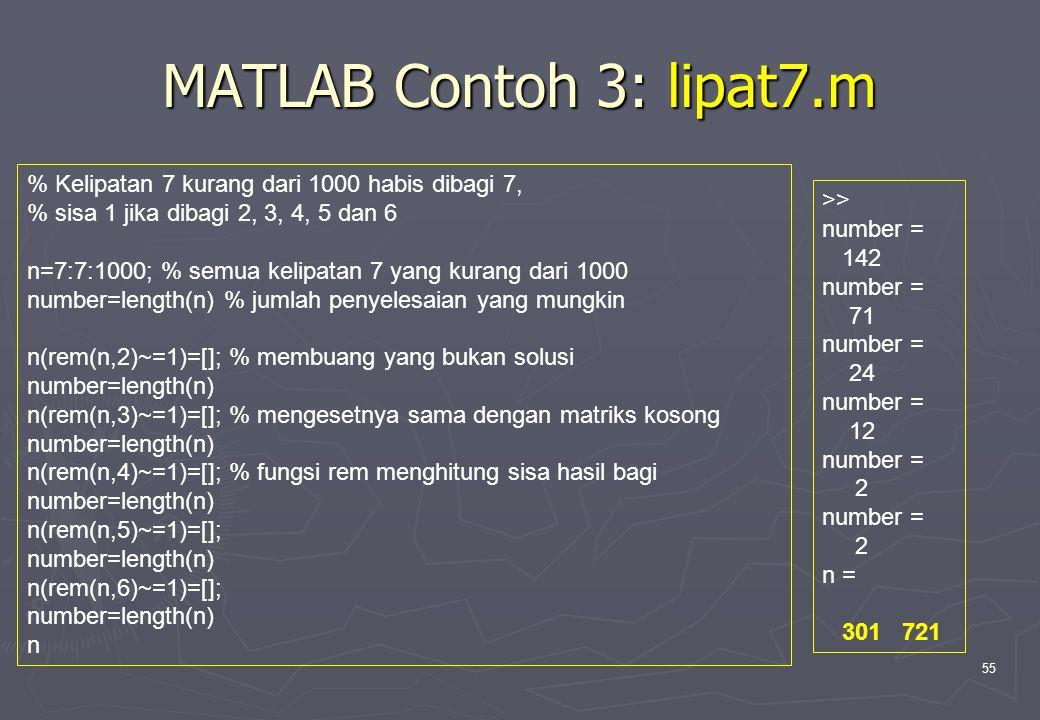 55 MATLAB Contoh 3: lipat7.m % Kelipatan 7 kurang dari 1000 habis dibagi 7, % sisa 1 jika dibagi 2, 3, 4, 5 dan 6 n=7:7:1000; % semua kelipatan 7 yang