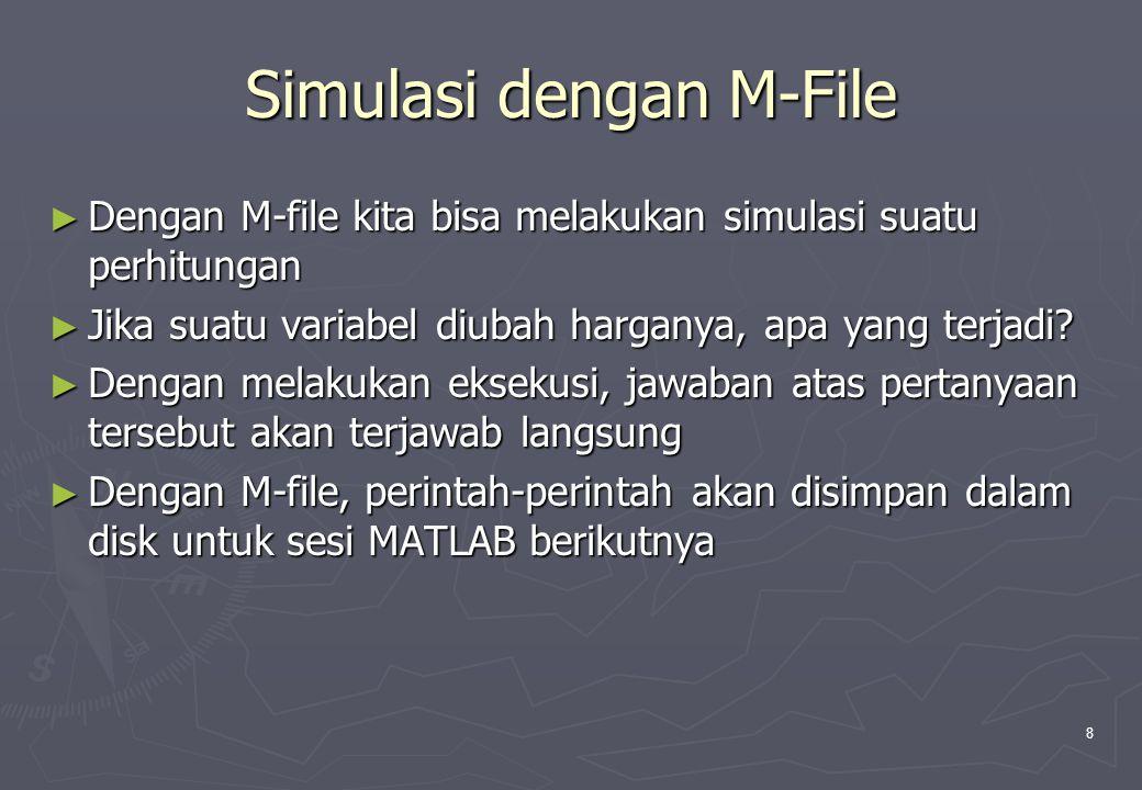 9 Prioritas Pengerjaan di MATLAB ► MATLAB memprioritaskan variabel-variabel aktif dan perintah- perintah MATLAB standar sebelum nama M-file ► Jika asam bukan nama suatu variabel aktif atau suatu perintah standar MATLAB, MATLAB membuka file asam.m (jika ada) dan mengerjakan perintah-perintah yang ditemukan dalam file tersebut ► Perintah-perintah yang ada di M-file dapat mengakses semua variabel yang ada di ruang kerja MATLAB dan semua variabel yang dibuat oleh perintah dalam M-file menjadi bagian dari ruang kerja MATLAB ► Biasanya perintah yang dibaca dari M-file tidak ditampilkan jika sedang dievaluasi