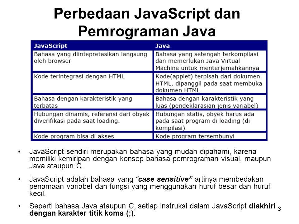 3 Perbedaan JavaScript dan Pemrograman Java •JavaScript sendiri merupakan bahasa yang mudah dipahami, karena memiliki kemiripan dengan konsep bahasa pemrograman visual, maupun Java ataupun C.