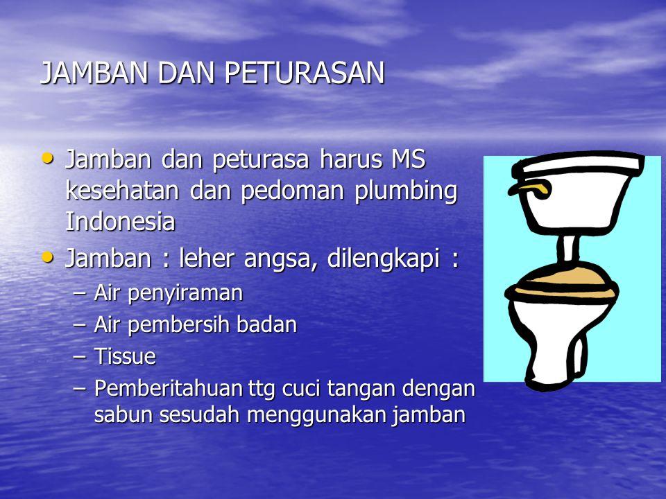 JAMBAN DAN PETURASAN • Jamban dan peturasa harus MS kesehatan dan pedoman plumbing Indonesia • Jamban : leher angsa, dilengkapi : –Air penyiraman –Air pembersih badan –Tissue –Pemberitahuan ttg cuci tangan dengan sabun sesudah menggunakan jamban