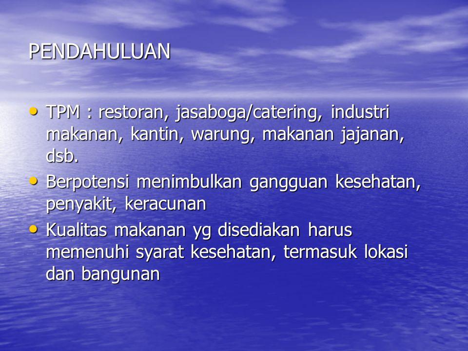 PENDAHULUAN • TPM : restoran, jasaboga/catering, industri makanan, kantin, warung, makanan jajanan, dsb.