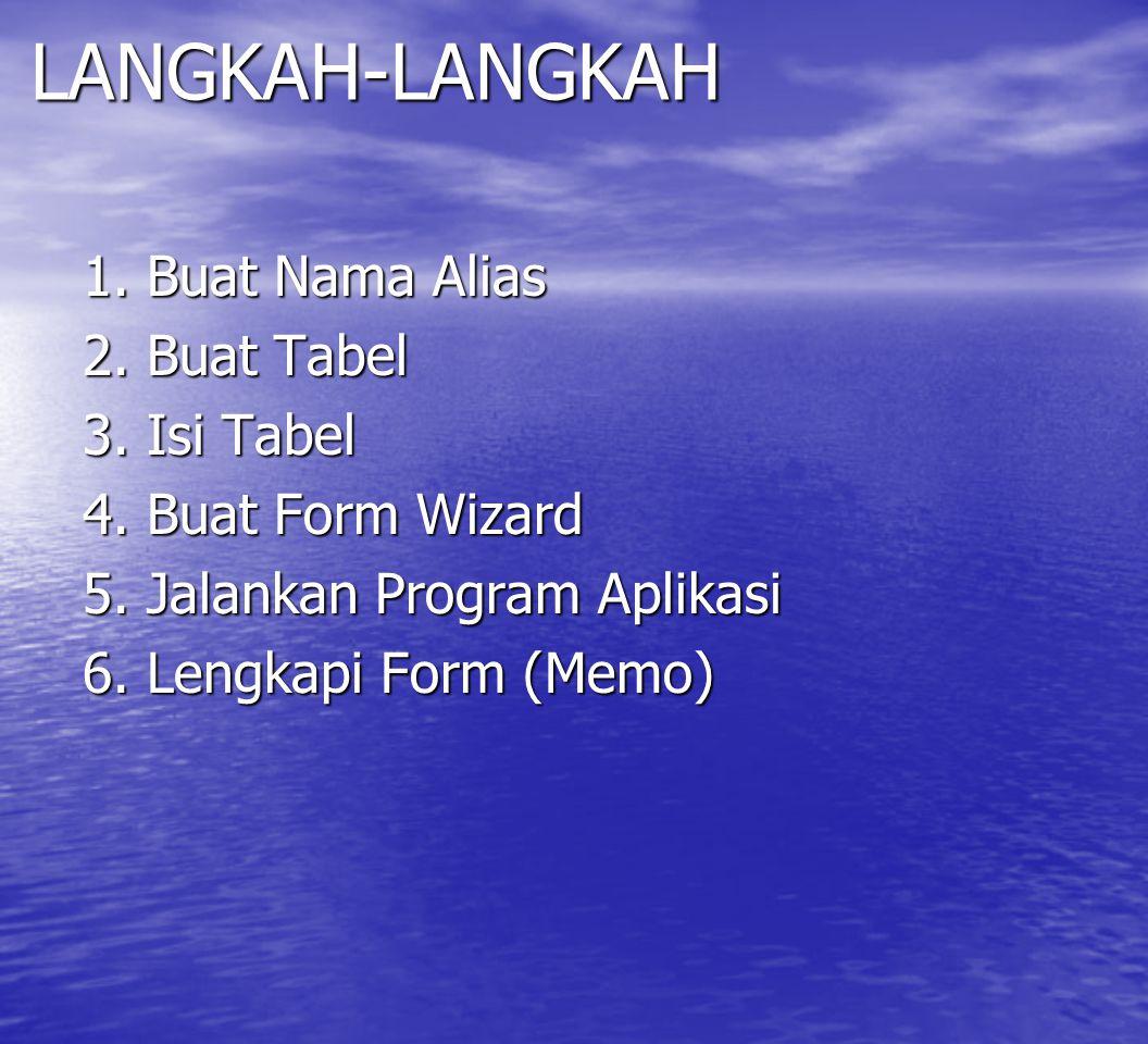 LANGKAH-LANGKAH 1. Buat Nama Alias 2. Buat Tabel 3. Isi Tabel 4. Buat Form Wizard 5. Jalankan Program Aplikasi 6. Lengkapi Form (Memo)