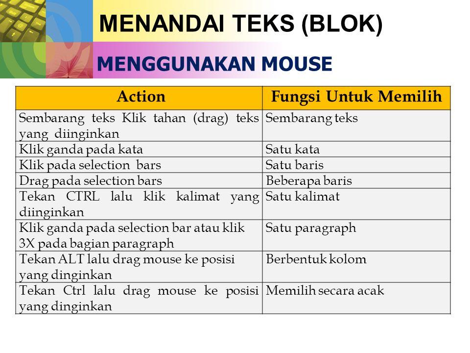 MENANDAI TEKS (BLOK) MENGGUNAKAN MOUSE Action Fungsi Untuk Memilih Sembarang teks Klik tahan (drag) teks yang diinginkan Sembarang teks Klik ganda pada kataSatu kata Klik pada selection barsSatu baris Drag pada selection barsBeberapa baris Tekan CTRL lalu klik kalimat yang diinginkan Satu kalimat Klik ganda pada selection bar atau klik 3X pada bagian paragraph Satu paragraph Tekan ALT lalu drag mouse ke posisi yang dinginkan Berbentuk kolom Tekan Ctrl lalu drag mouse ke posisi yang dinginkan Memilih secara acak