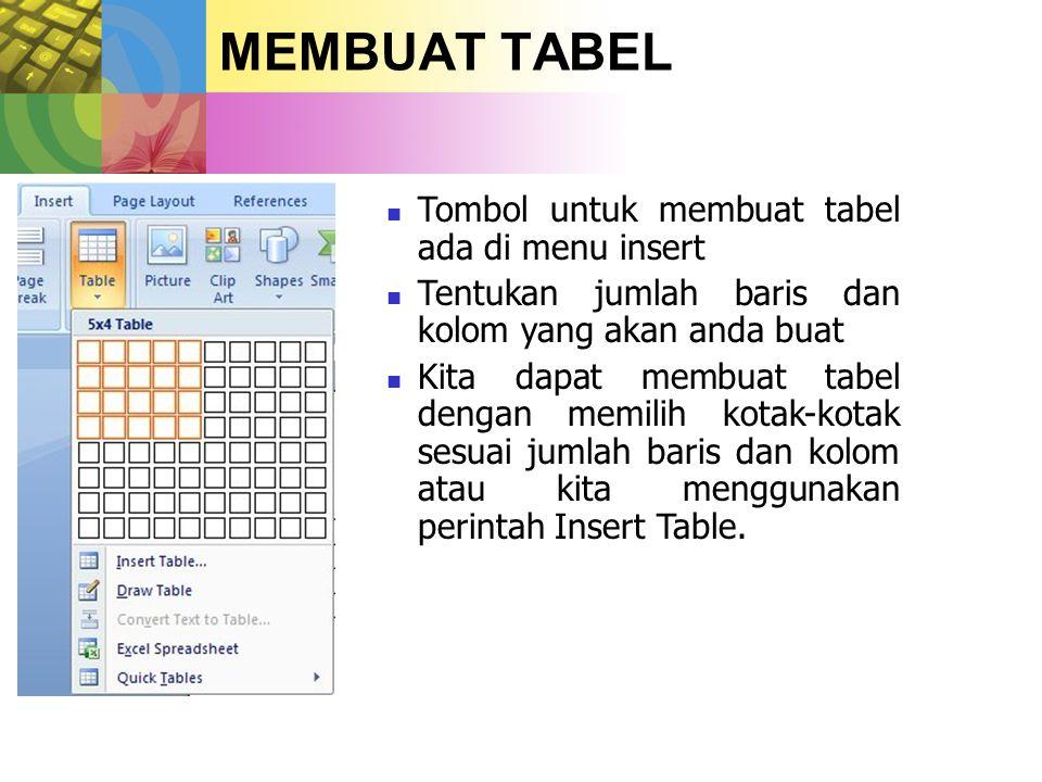  Tombol untuk membuat tabel ada di menu insert  Tentukan jumlah baris dan kolom yang akan anda buat  Kita dapat membuat tabel dengan memilih kotak-kotak sesuai jumlah baris dan kolom atau kita menggunakan perintah Insert Table.