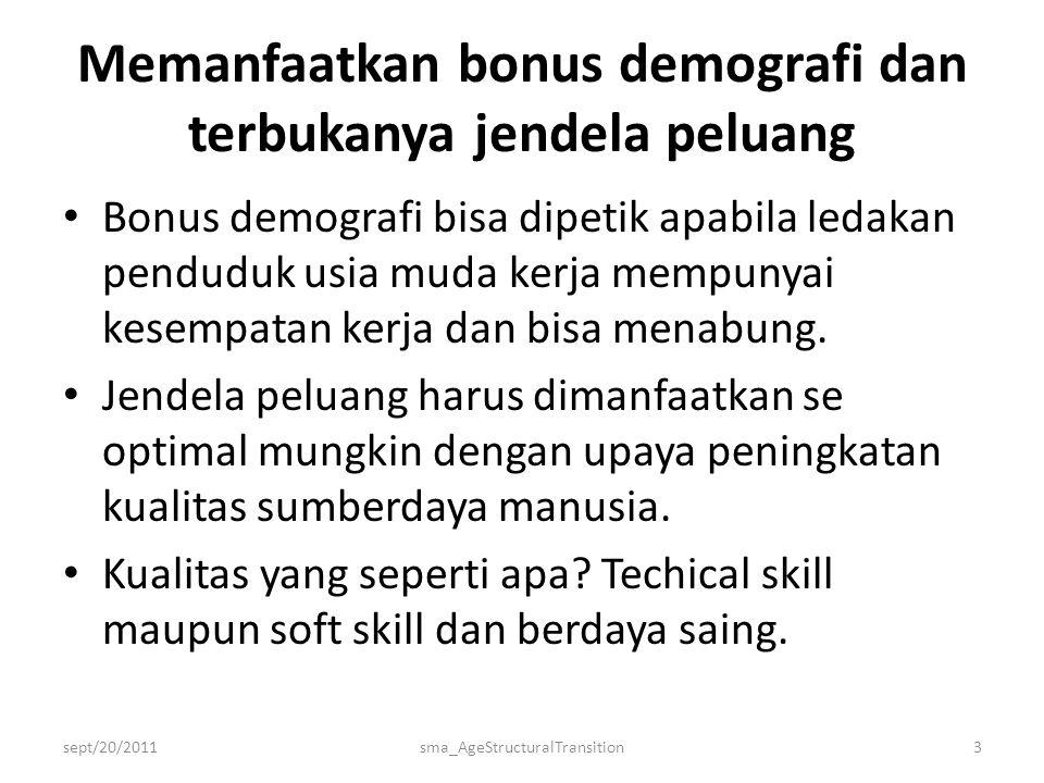 Memanfaatkan bonus demografi dan terbukanya jendela peluang • Bonus demografi bisa dipetik apabila ledakan penduduk usia muda kerja mempunyai kesempatan kerja dan bisa menabung.