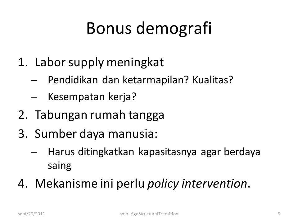 Bonus demografi 1.Labor supply meningkat – Pendidikan dan ketarmapilan.
