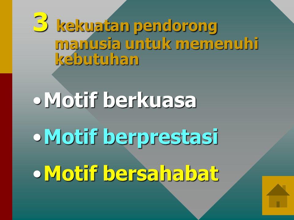 3 kekuatan pendorong manusia untuk memenuhi kebutuhan •Motif berkuasa •Motif berprestasi •Motif bersahabat