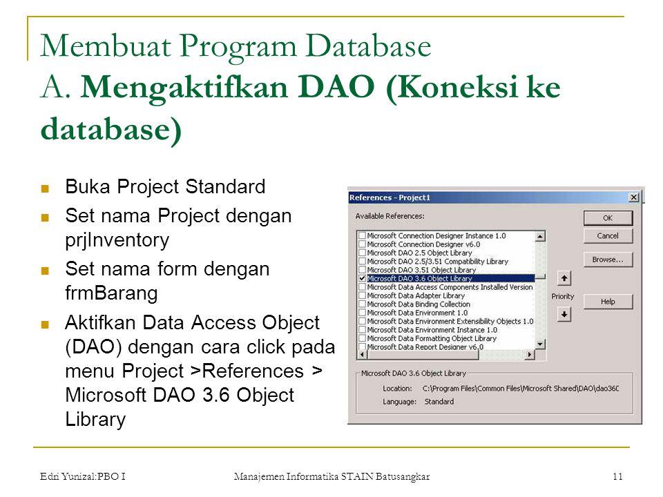 Edri Yunizal:PBO I Manajemen Informatika STAIN Batusangkar 11 Membuat Program Database A.