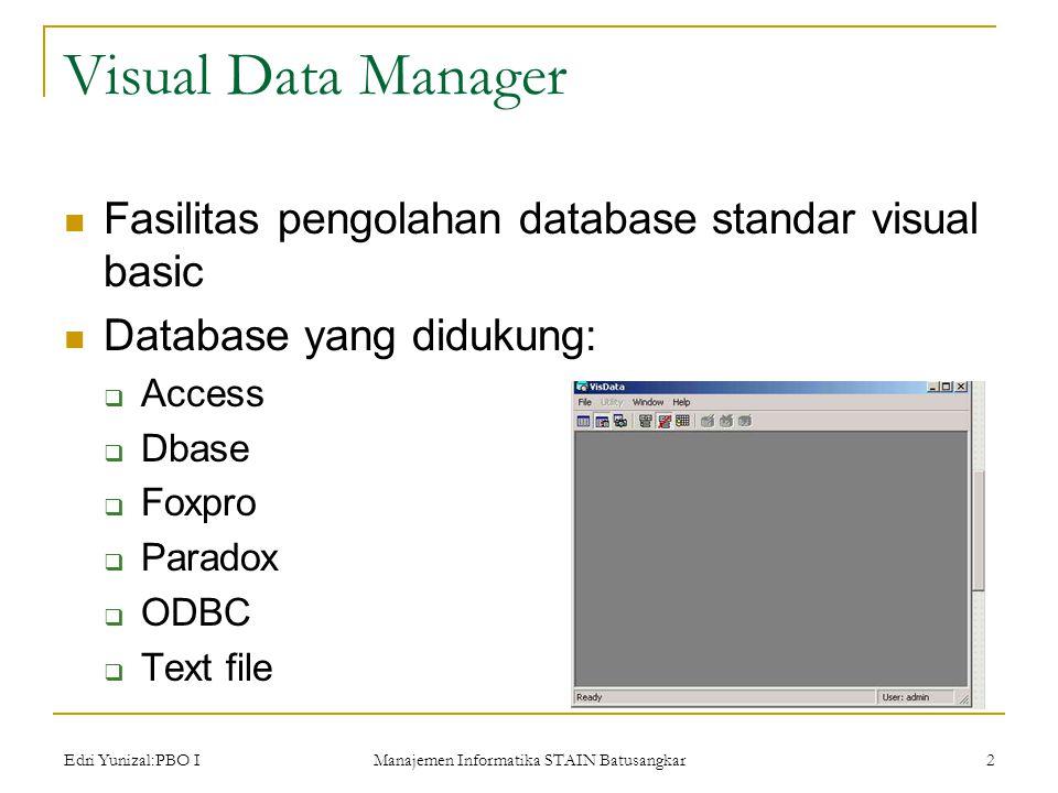 Edri Yunizal:PBO I Manajemen Informatika STAIN Batusangkar 2 Visual Data Manager  Fasilitas pengolahan database standar visual basic  Database yang didukung:  Access  Dbase  Foxpro  Paradox  ODBC  Text file
