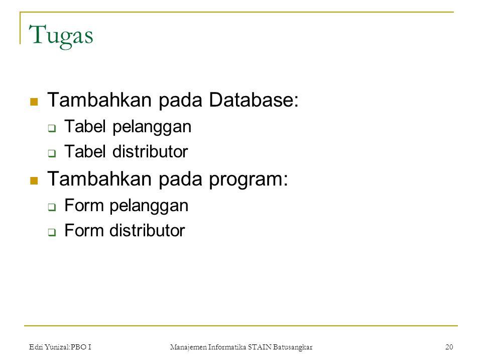 Edri Yunizal:PBO I Manajemen Informatika STAIN Batusangkar 20 Tugas  Tambahkan pada Database:  Tabel pelanggan  Tabel distributor  Tambahkan pada program:  Form pelanggan  Form distributor