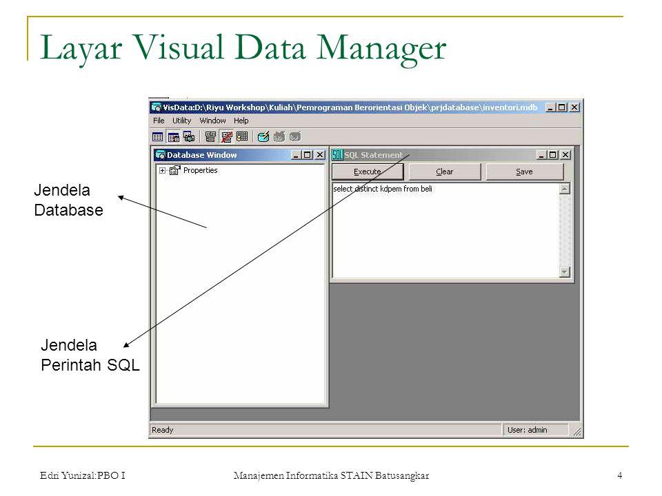 Edri Yunizal:PBO I Manajemen Informatika STAIN Batusangkar 4 Layar Visual Data Manager Jendela Database Jendela Perintah SQL