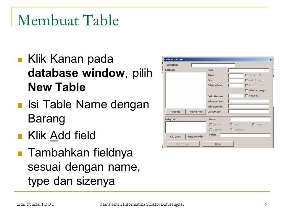 Edri Yunizal:PBO I Manajemen Informatika STAIN Batusangkar 6 Membuat Table  Klik Kanan pada database window, pilih New Table  Isi Table Name dengan Barang  Klik Add field  Tambahkan fieldnya sesuai dengan name, type dan sizenya