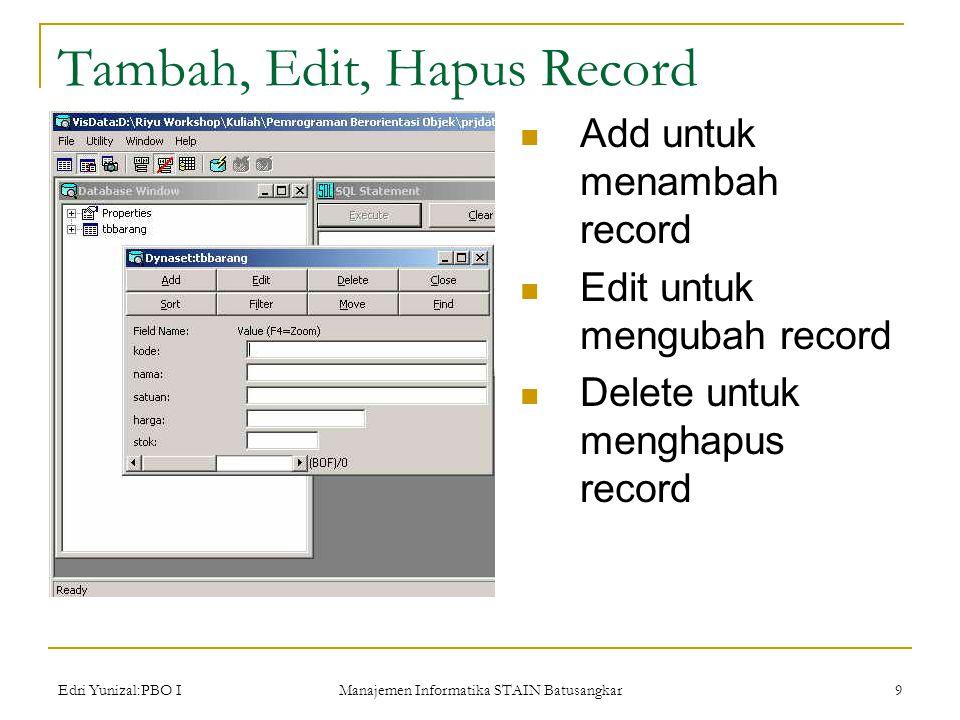 Edri Yunizal:PBO I Manajemen Informatika STAIN Batusangkar 9 Tambah, Edit, Hapus Record  Add untuk menambah record  Edit untuk mengubah record  Delete untuk menghapus record