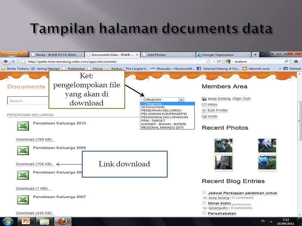 Link download Ket: pengelompokan file yang akan di download