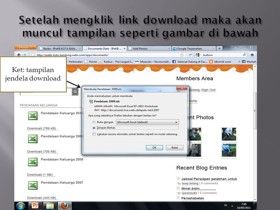 Ket: tampilan jendela download