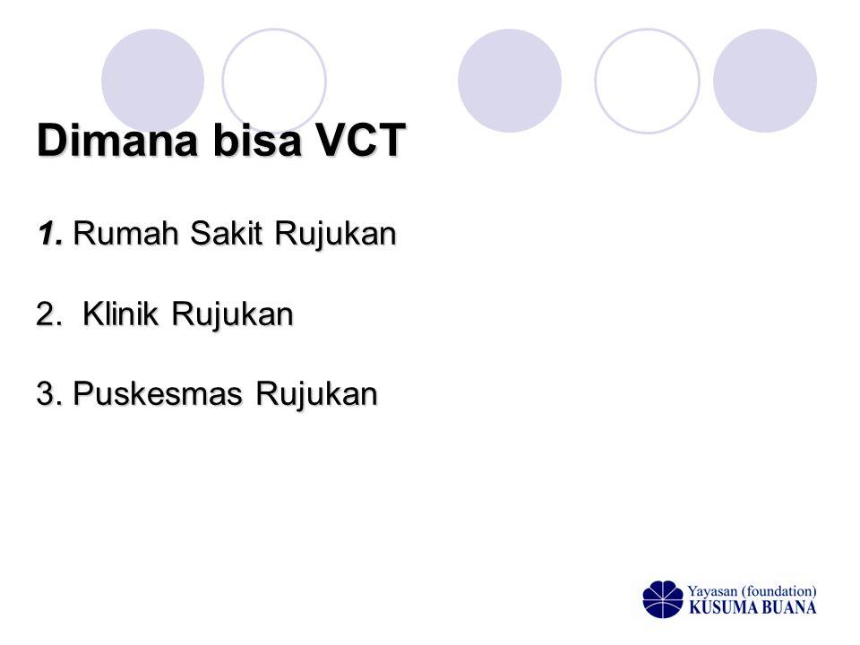 Dimana bisa VCT 1. Rumah Sakit Rujukan 2. Klinik Rujukan 3. Puskesmas Rujukan