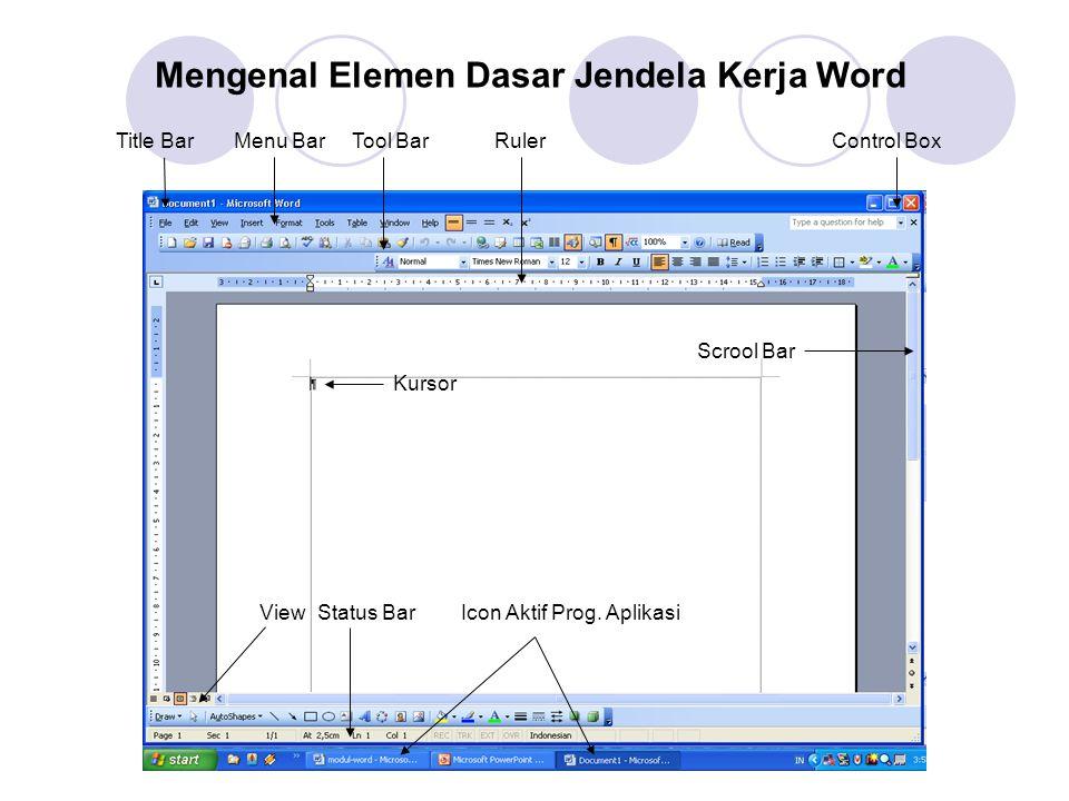 Mengenal Elemen Dasar Jendela Kerja Word Title BarMenu BarTool BarRulerControl Box Scrool Bar Kursor ViewStatus BarIcon Aktif Prog.