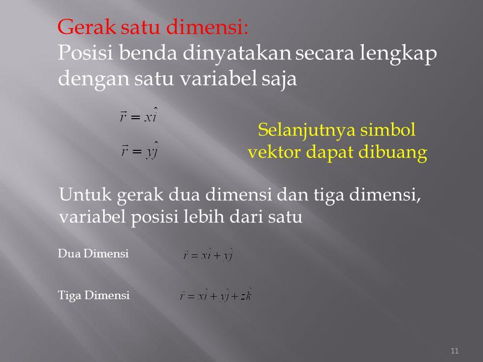 Gerak satu dimensi: Posisi benda dinyatakan secara lengkap dengan satu variabel saja Untuk gerak dua dimensi dan tiga dimensi, variabel posisi lebih d