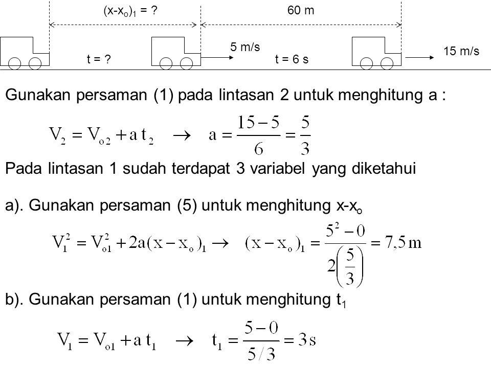 Gunakan persaman (1) pada lintasan 2 untuk menghitung a : 60 m 15 m/s t = 6 st = ? 5 m/s b). Gunakan persaman (1) untuk menghitung t 1 a). Gunakan per