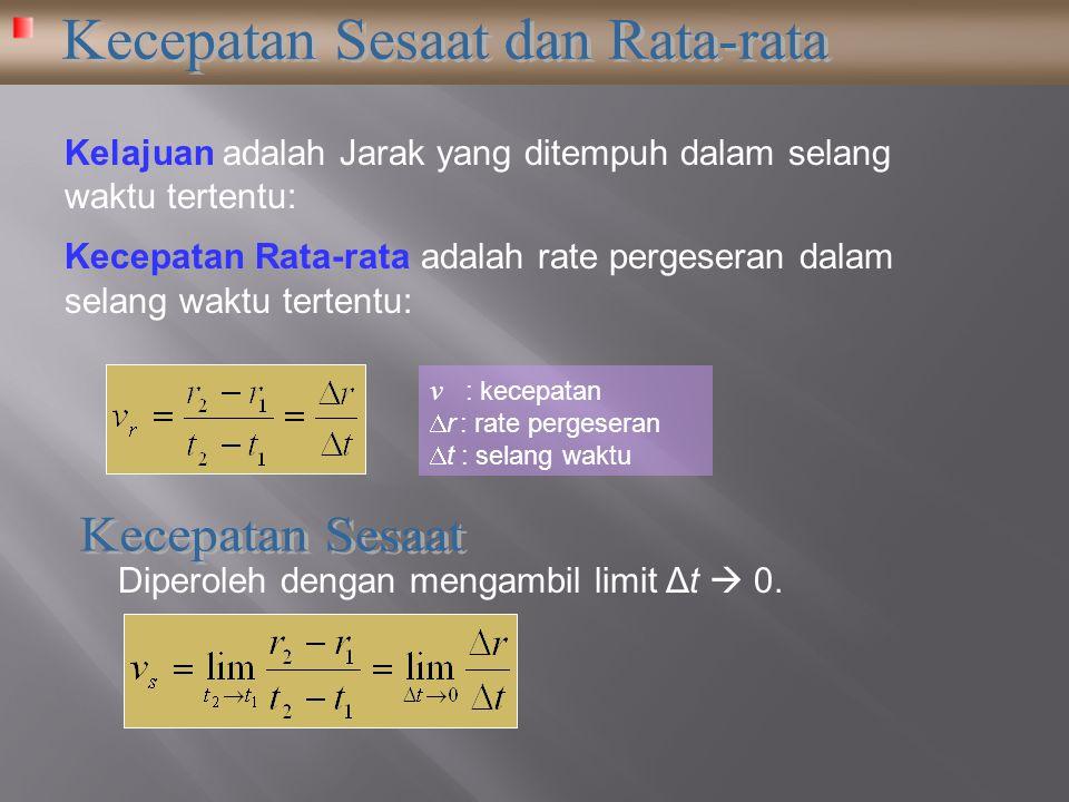 Kecepatan Rata-rata adalah rate pergeseran dalam selang waktu tertentu: Kelajuan adalah Jarak yang ditempuh dalam selang waktu tertentu: v : kecepatan