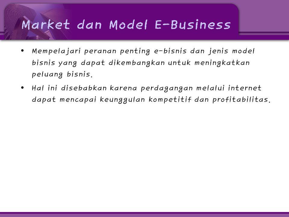 Market dan Model E-Business • Mempelajari peranan penting e-bisnis dan jenis model bisnis yang dapat dikembangkan untuk meningkatkan peluang bisnis. •