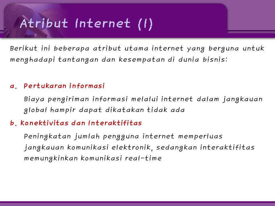 Atribut Internet (1) Berikut ini beberapa atribut utama internet yang berguna untuk menghadapi tantangan dan kesempatan di dunia bisnis: a. Pertukaran