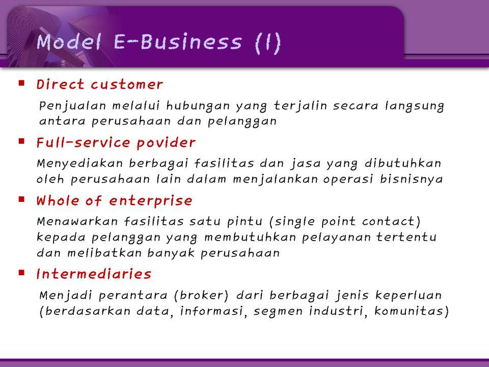 Model E-Business (1)  Direct customer Penjualan melalui hubungan yang terjalin secara langsung antara perusahaan dan pelanggan  Full-service povider