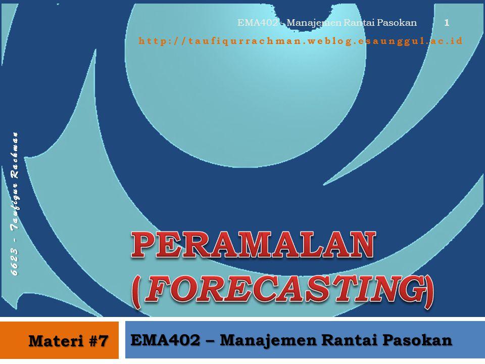 6 6 2 3 - T a u f i q u r R a c h m a n http://taufiqurrachman.weblog.esaunggul.ac.id EMA402 – Manajemen Rantai Pasokan Materi #7 1 EMA402 - Manajemen