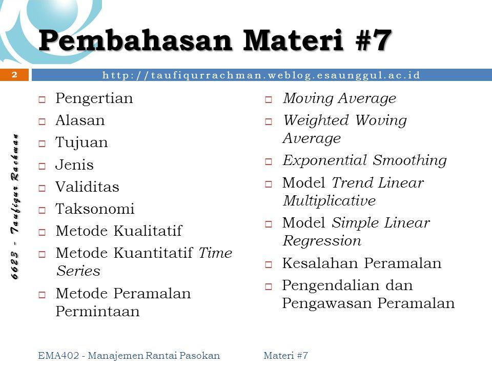 http://taufiqurrachman.weblog.esaunggul.ac.id 6 6 2 3 - T a u f i q u r R a c h m a n Pembahasan Materi #7 Materi #7 EMA402 - Manajemen Rantai Pasokan