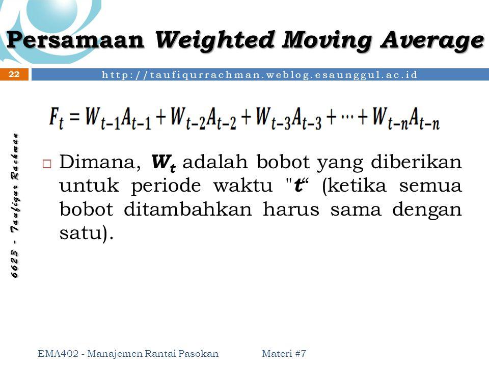 http://taufiqurrachman.weblog.esaunggul.ac.id 6 6 2 3 - T a u f i q u r R a c h m a n Persamaan Weighted Moving Average  Dimana, W t adalah bobot yan